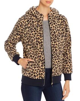 Calvin Klein - Leopard-Print Faux-Fur Zip Hoodie