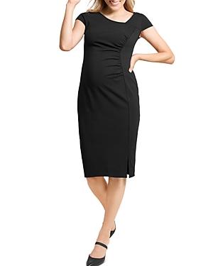 Shirred Ponte-Knit Maternity Dress
