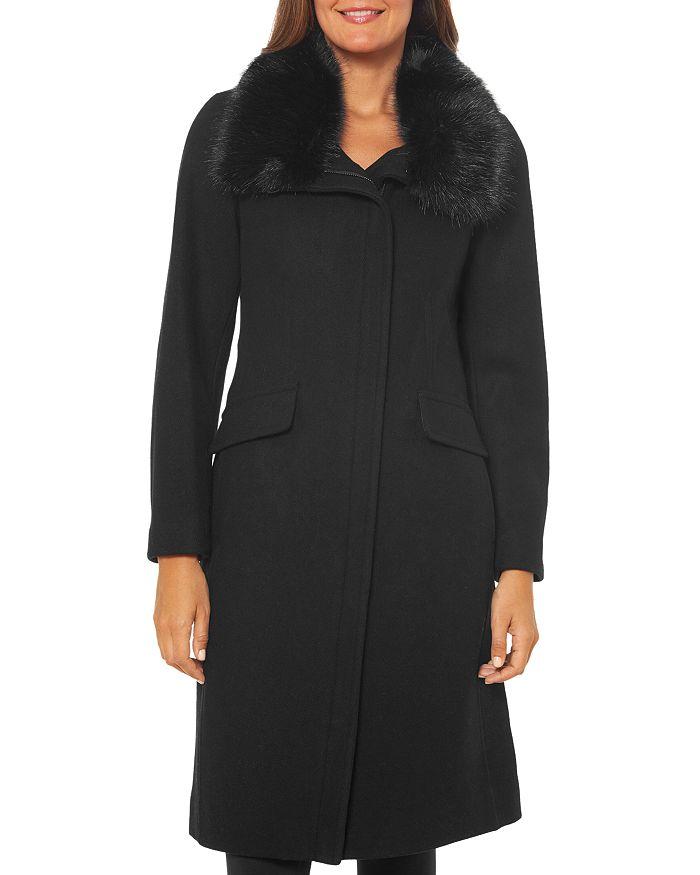 VINCE CAMUTO - Faux Fur-Trim Zip Front Coat