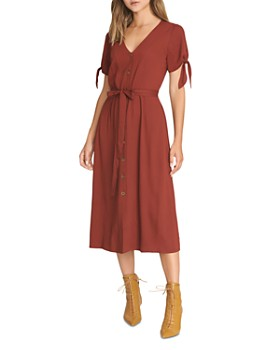 Sanctuary - Tie-Cuff Belted Midi Dress
