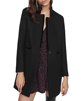 Maje - Galar Wool-Blend Velvet-Trim Coat