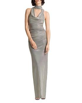 HALSTON - Metallic Draped Cowl Gown