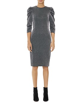 HALSTON - Metallic Puff-Shoulder Sheath Dress