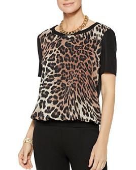 Misook - Leopard-Front Blouson Top