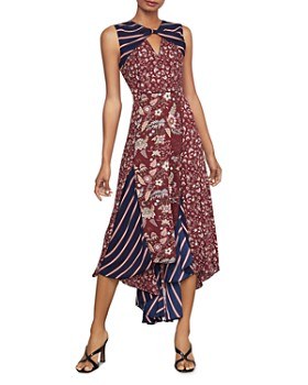 BCBGMAXAZRIA - Mixed-Print Asymmetric Dress