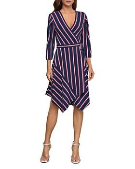 BCBGMAXAZRIA -  Striped Handkerchief-Hem Wrap Dress