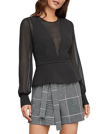 BCBGMAXAZRIA - Sheer-Panel Peplum Top
