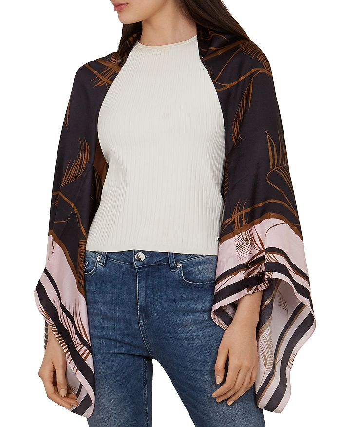 Ted Baker Cadeey Caramel Silk Cape Scarf In Brown