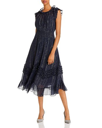 Rebecca Taylor - Ruffled Metallic Accent Midi Dress