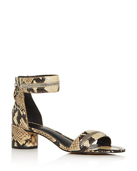 Rebecca Minkoff - Women's Ortenne Too Snake-Embossed Block-Heel Sandals