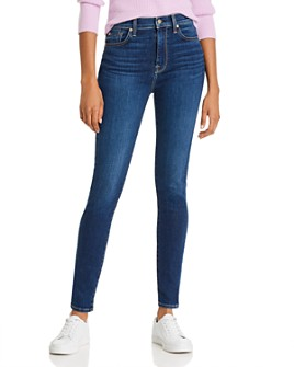 7 For All Mankind - High-Waisted Skinny Jeans in Midnight Dark