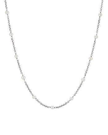 """David Yurman - Sterling Silver Cable Collectibles Bead & Chain Necklace with Cultured Freshwater Pearls, 36"""""""