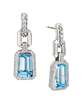 David Yurman - Sterling Silver Stax Drop Earrings with Blue Topaz & Diamonds