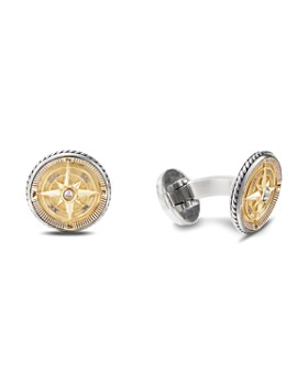 David Yurman - Sterling Silver & 18K Yellow Gold Maritime Compass Cufflinks with Diamonds