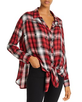 Vintage Havana - Star Print Plaid Shirt