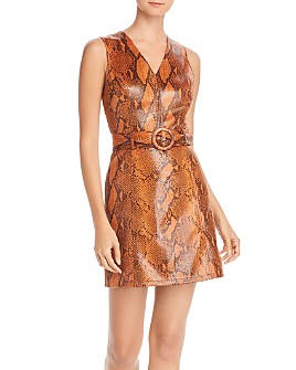 AQUA - Snake Print Faux-Leather Belted Dress - 100% Exclusive