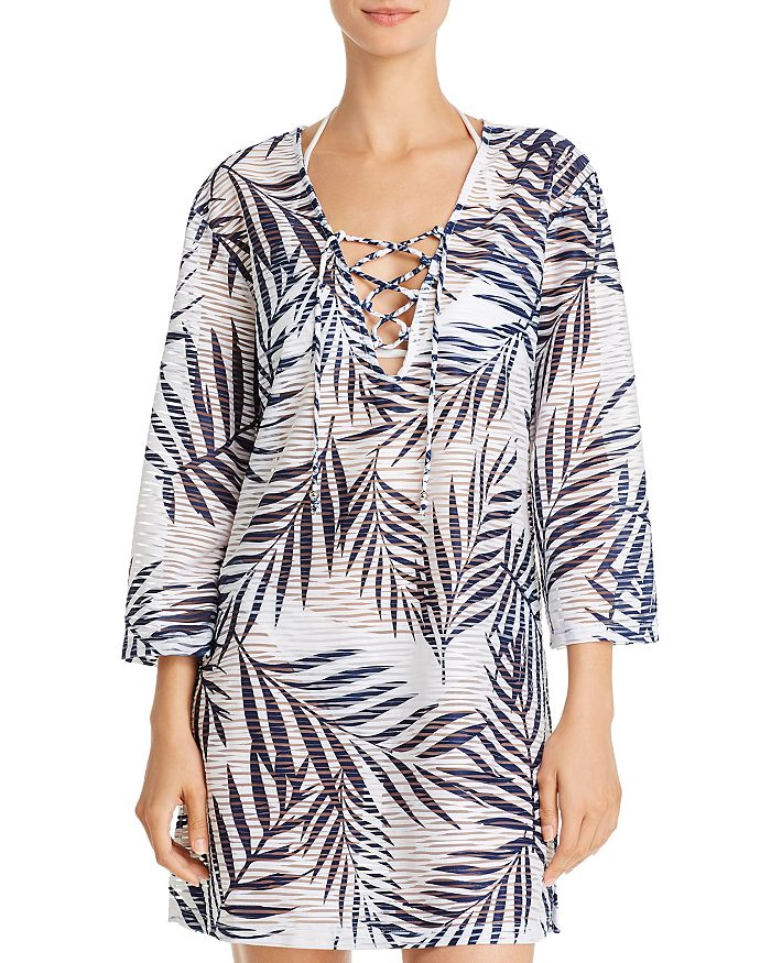 J. Valdi - Lace-Up V-Neck Tunic Swim Cover-Up