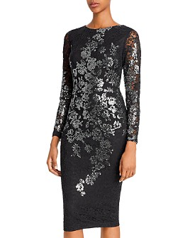 Avery G - Metallic Lace Sheath Dress