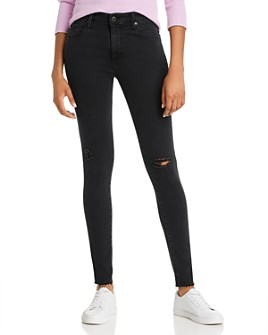 AG - High-Rise Jeans in Altered Black Destructed