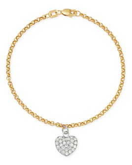 Bloomingdale's - Diamond Heart Charm Bracelet in 14K White and Yellow Gold, 0.50 ct. t.w. - 100% Exclusive