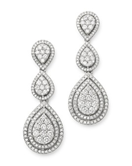 Bloomingdale's - Cluster Diamond Statement Drop Earrings in 14K White Gold, 3.10 ct. t.w. - 100% Exclusive
