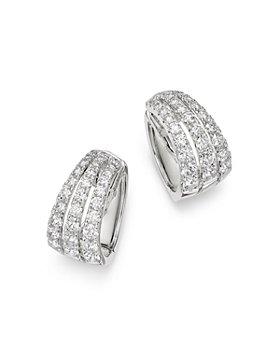 Bloomingdale's - Diamond Triple-Row Huggie Hoop Earrings in 14K White Gold, 2.60 ct. t.w. - 100% Exclusive