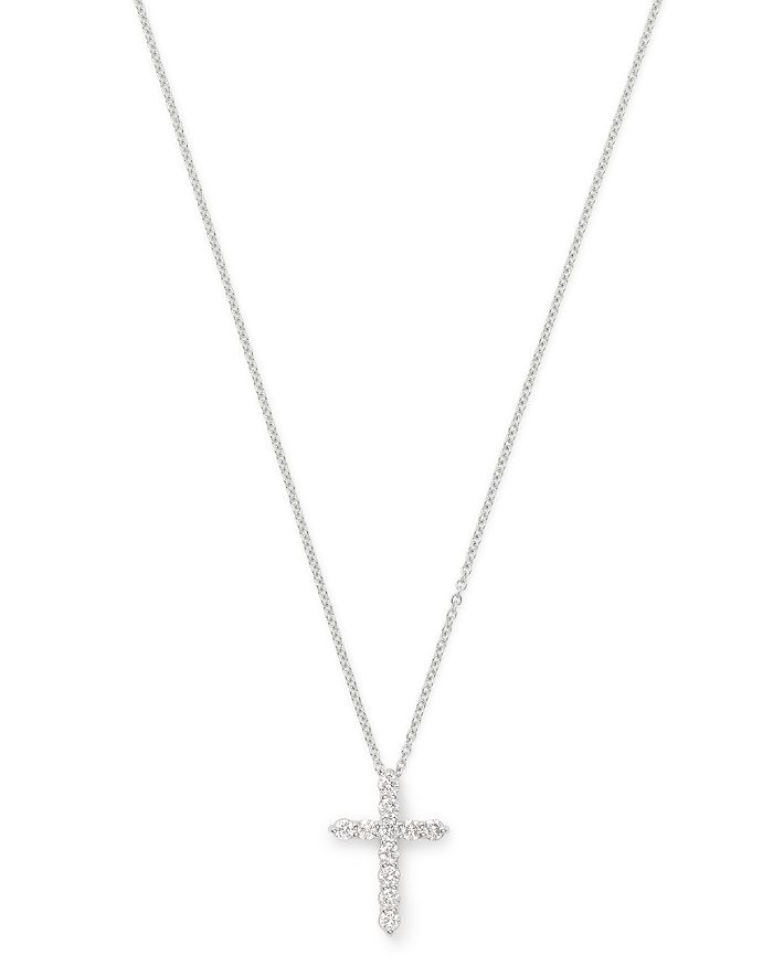 Bloomingdale's - Diamond Small Cross Pendant Necklace in 14K White Gold, 0.33 ct. t.w. - 100% Exclusive