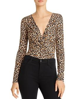 Bardot - Twist-Front Leopard Print Bodysuit
