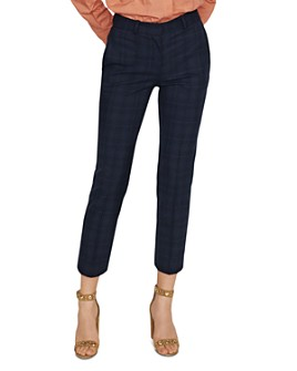 Maje - Paliro Cropped Slim Plaid Pants
