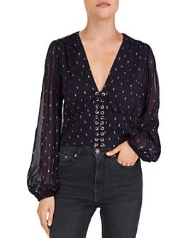 The Kooples - Lace-Up Metallic-Dot Top