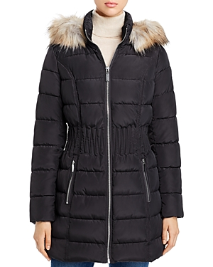 Laundry by Shelli Segal Cinched Waist Faux Fur-Trim Puffer Coat