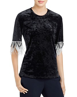Kobi Halperin - Jennifer Beaded Velvet Top