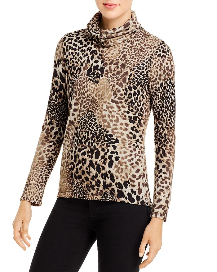 Elan - Leopard Cowl-Neck Sweater