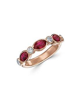 Gumuchian - 18K Rose Gold Marbella Ruby & Diamond Band