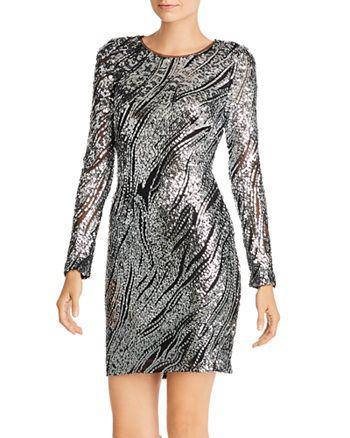 AQUA - Sequin Animal-Print Sheath Dress - 100% Exclusive