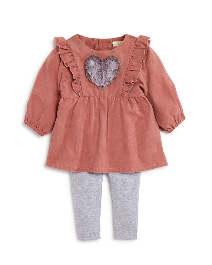 Miniclasix - Girls' Faux Fur Heart Dress & Leggings Set - Baby