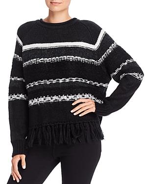 Aqua Striped Fringed Crewneck Sweater - 100% Exclusive