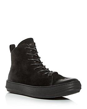 KARL LAGERFELD PARIS - Men's Nubuck Leather High-Top Sneakers