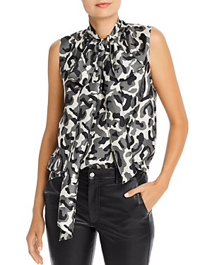 Theory Tops SILK TIE-NECK TOP