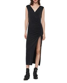 ALLSAINTS - Jacka Ruched Drawstring Midi Dress