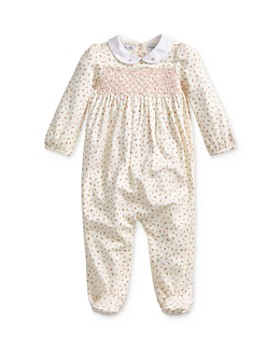 Ralph Lauren - Girls' Floral Print Smocked Footie - Baby
