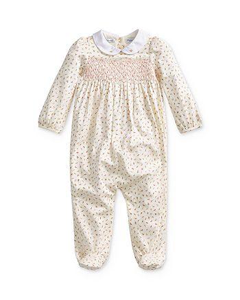 Ralph Lauren - Girls' Floral Print Smocked Footie - Baby