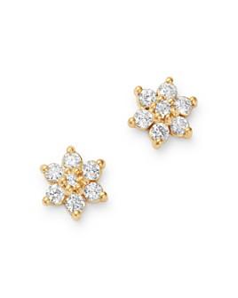 Zoë Chicco - 14K Yellow Gold Prong Diamonds Tiny Flower Stud Earrings
