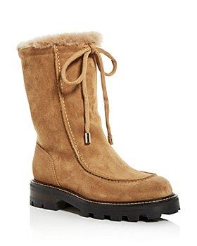 Jimmy Choo - Women's Buffy 38 Shearling Moc-Toe Mid-Calf Boots
