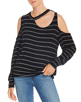 LNA - Leon Metallic-Stripe Cold-Shoulder Top