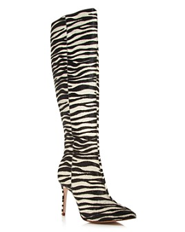 AQUA - Women's Indiala Zebra-Print Calf Hair Pointed-Toe High-Heel Boots