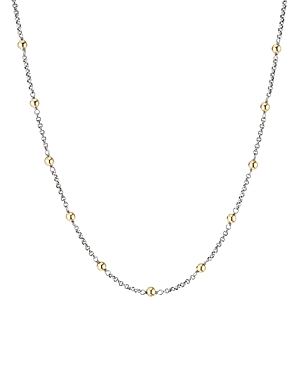 David Yurman Sterling Silver & 18K Yellow Gold Cable Collectibles Bead & Chain Necklace, 36
