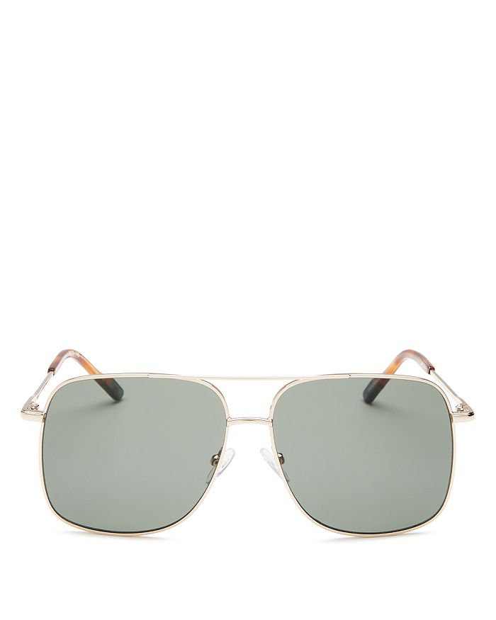 Le Specs Luxe - Men's Equilateral Brow Bar Aviator Sunglasses, 58mm