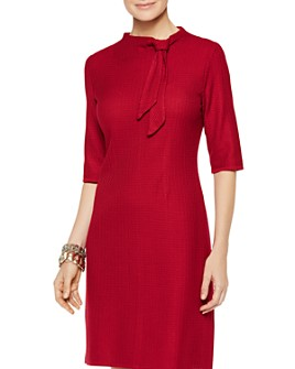 Misook - Textured-Knit Tie-Neck Sheath Dress