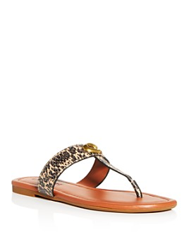 COACH - Women's Jessie Snake-Embossed Thong Sandals